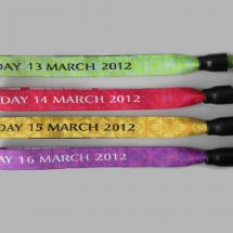 Fabric wristbands with a woven print