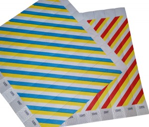 Tyvek wristbands multi coloured stripe